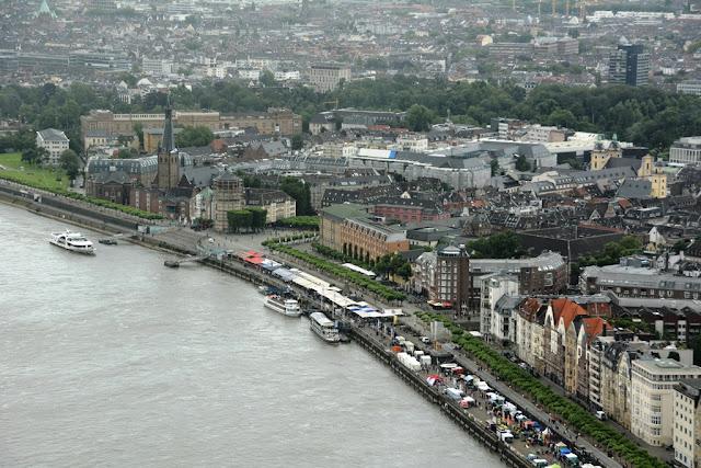 Rheinturm Dusseldorf river city view