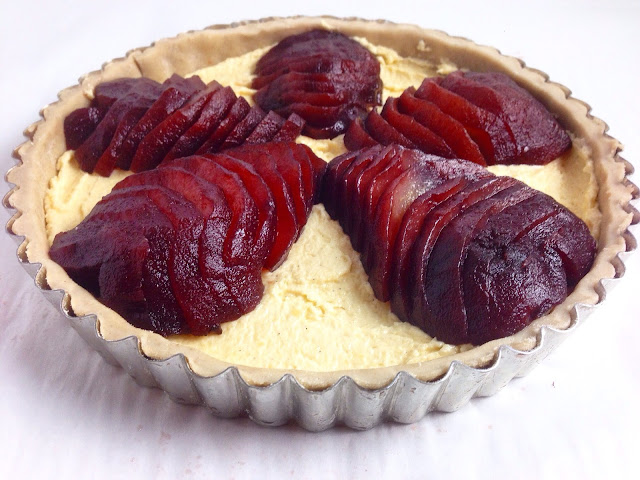 Unbaked Poached Pear and Almond Tart