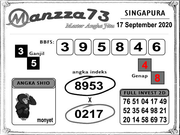 Manzza73 SGP Kamis 17 September 2020