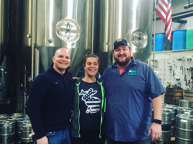 Kurt Strickmaker from Bounty Bev, Bailey Spaulding from Jackalope Brewing and I pose at Jackalope