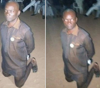 Local Government chairman forced to kneel down after shouting APC at PDP rally