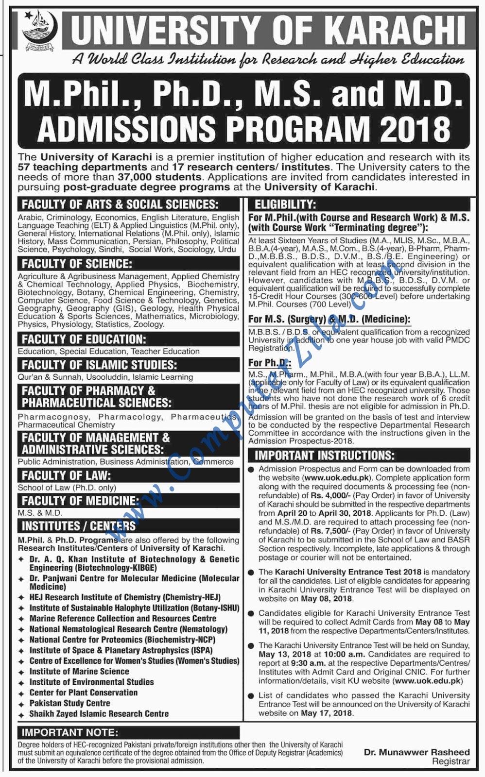 University of Karachi Admissions Spring 2018