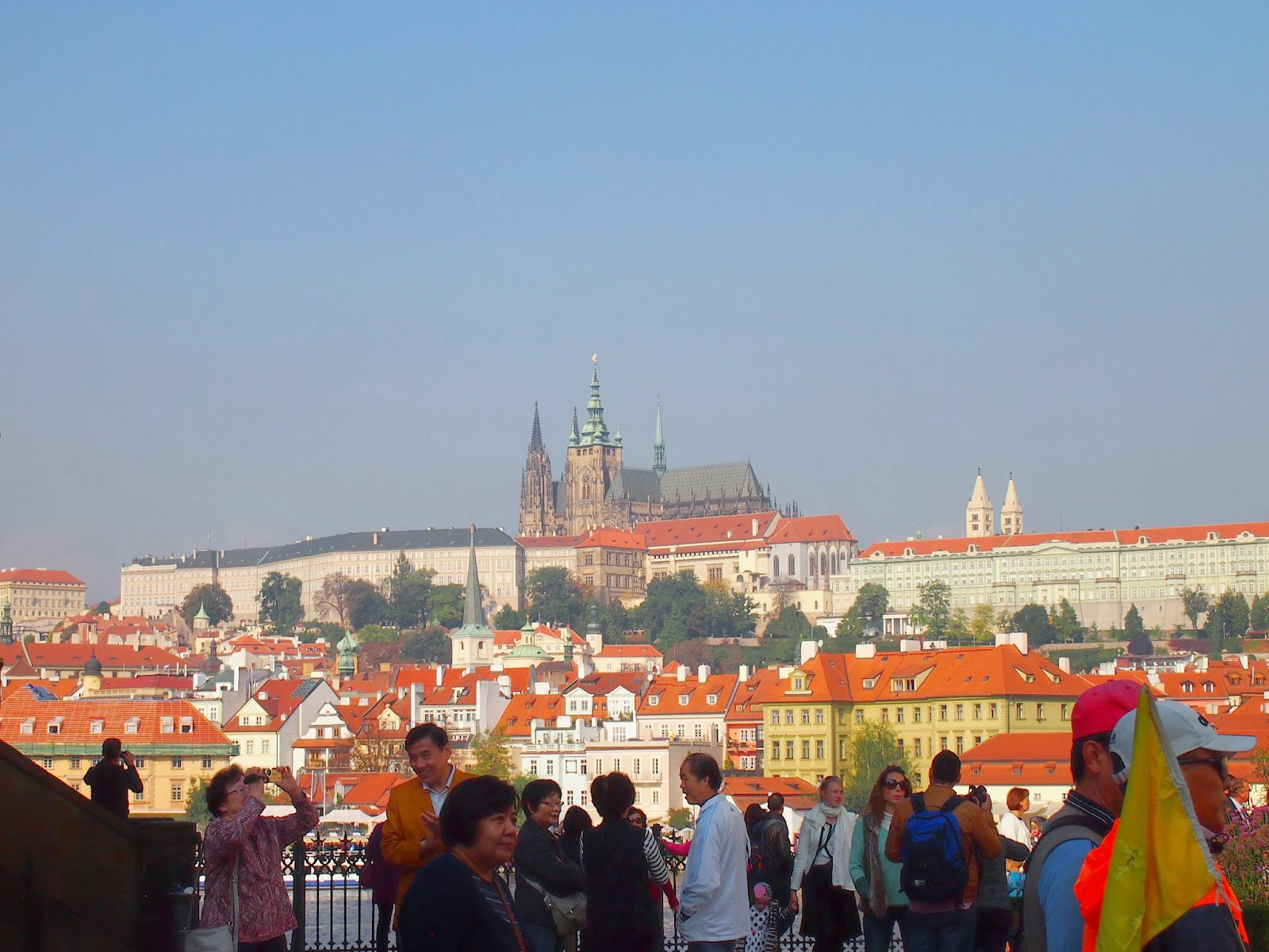 A view from below of St Vitus Cathedral and Prague Castle