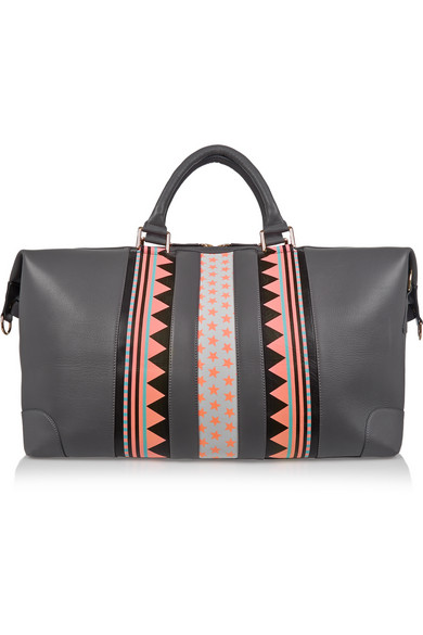 Grey patterned leather duffle