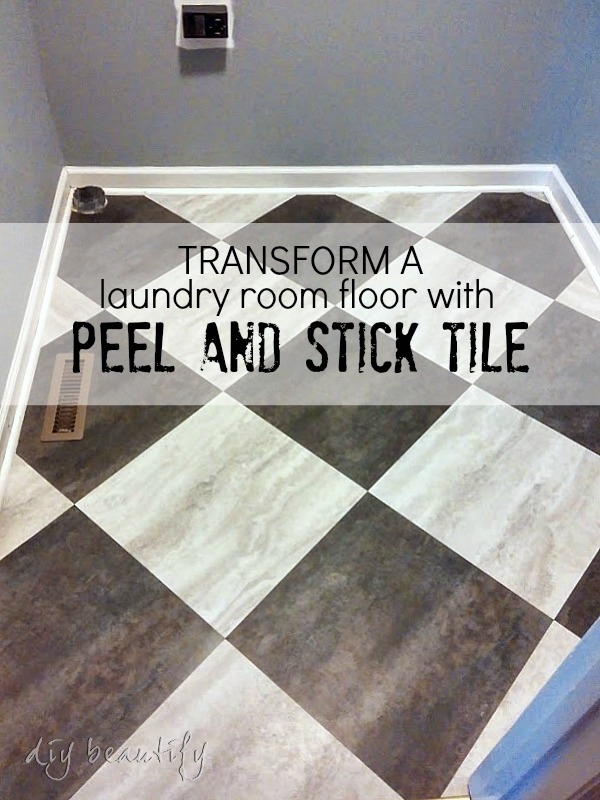 laundry room floor makeover DIY beautify blog
