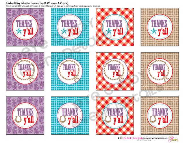 thanks yall toppers, cowboy party collection, party decor, gingham