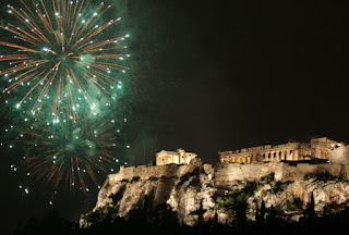 новогодний салют над Акрополем