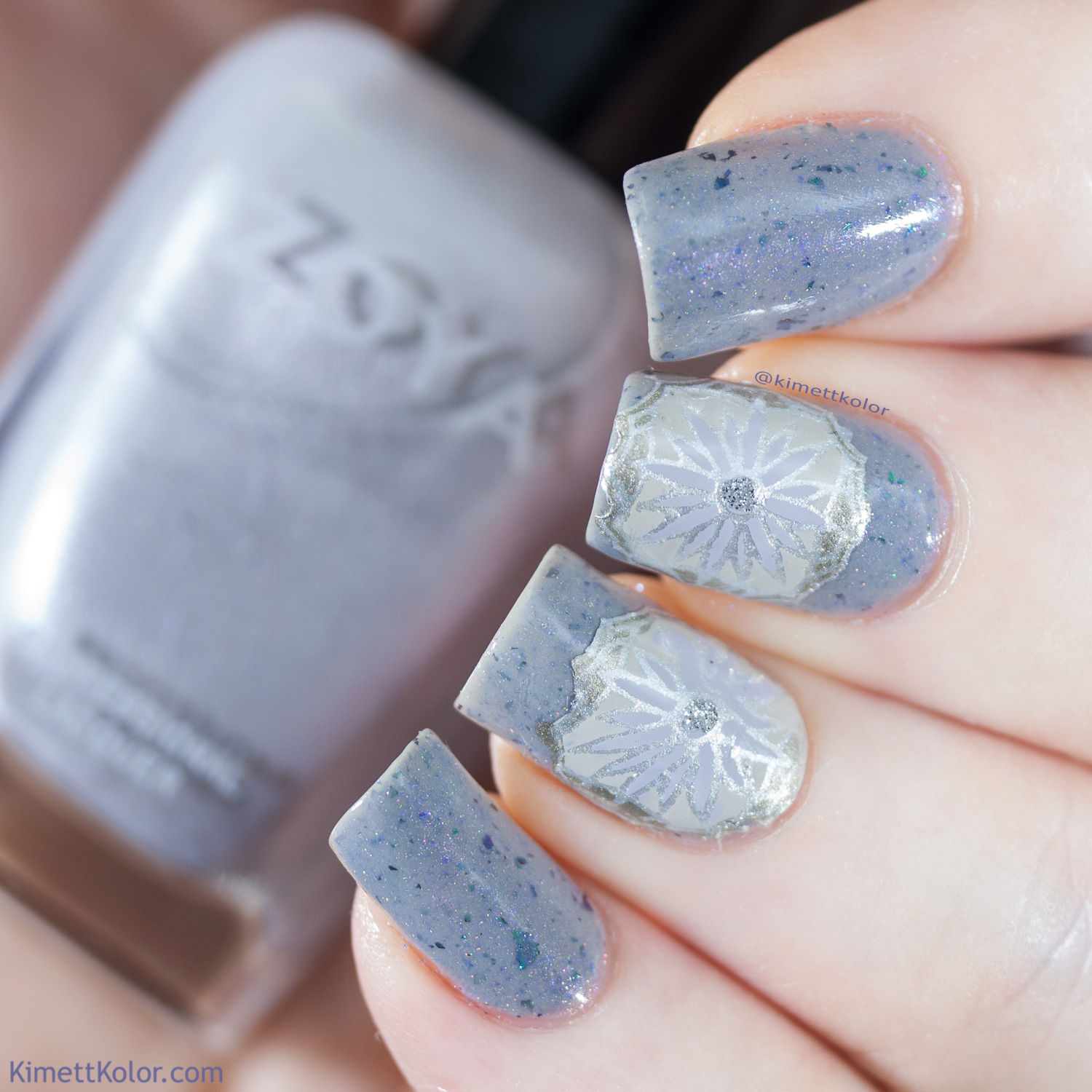 KimettKolor Grey Reverse Stamping on Calliope by Supernatural Lacquer
