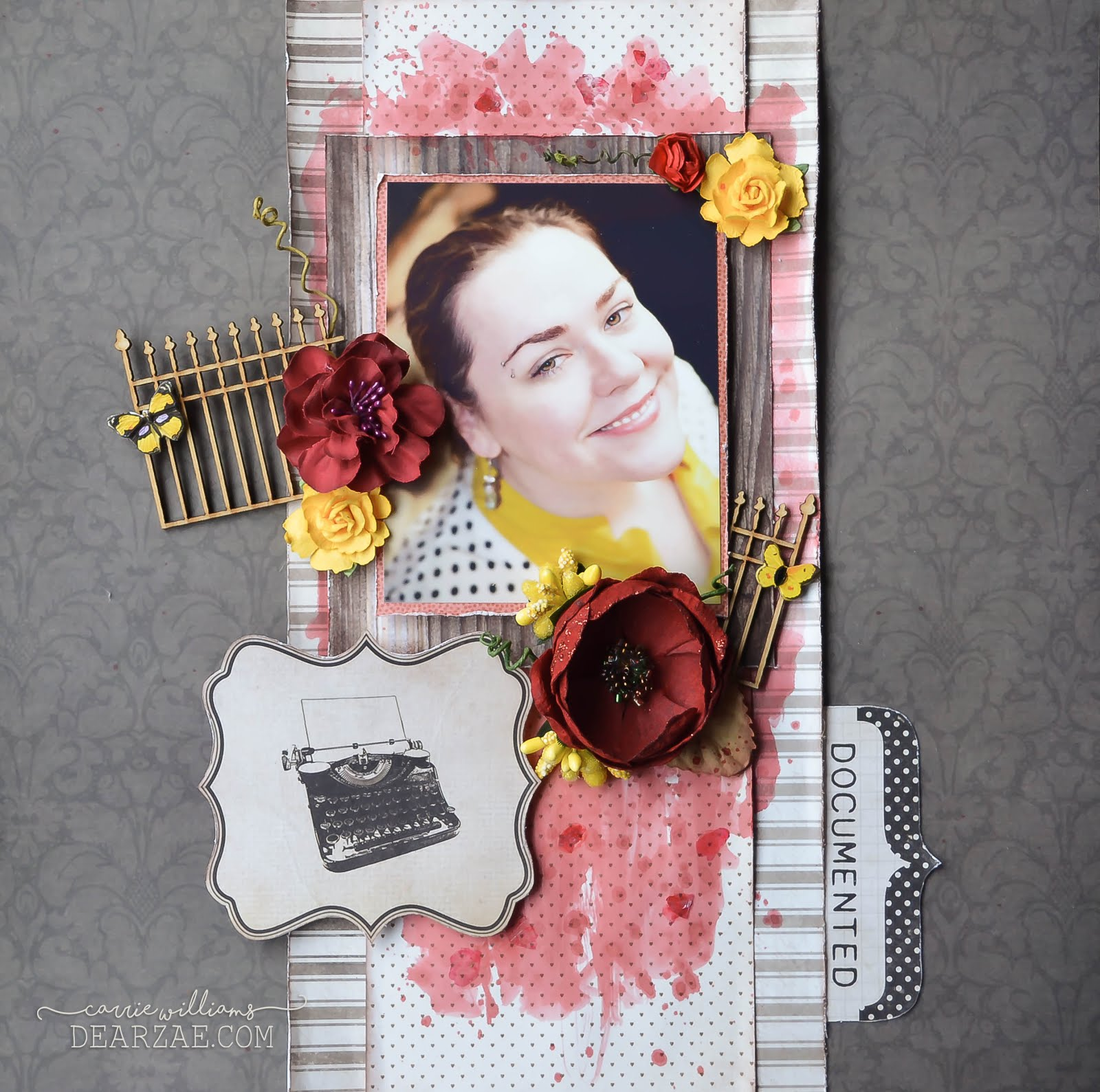 Scrapbook layout page in brown, red, and yellow, featuring watercolors, prima, flowers, kaisercraft wood fence for CSI DT case file 241
