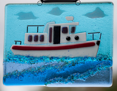 Nordic Tug Fused Glass Window Panel by flutterbybutterfly on flutterbyfoto