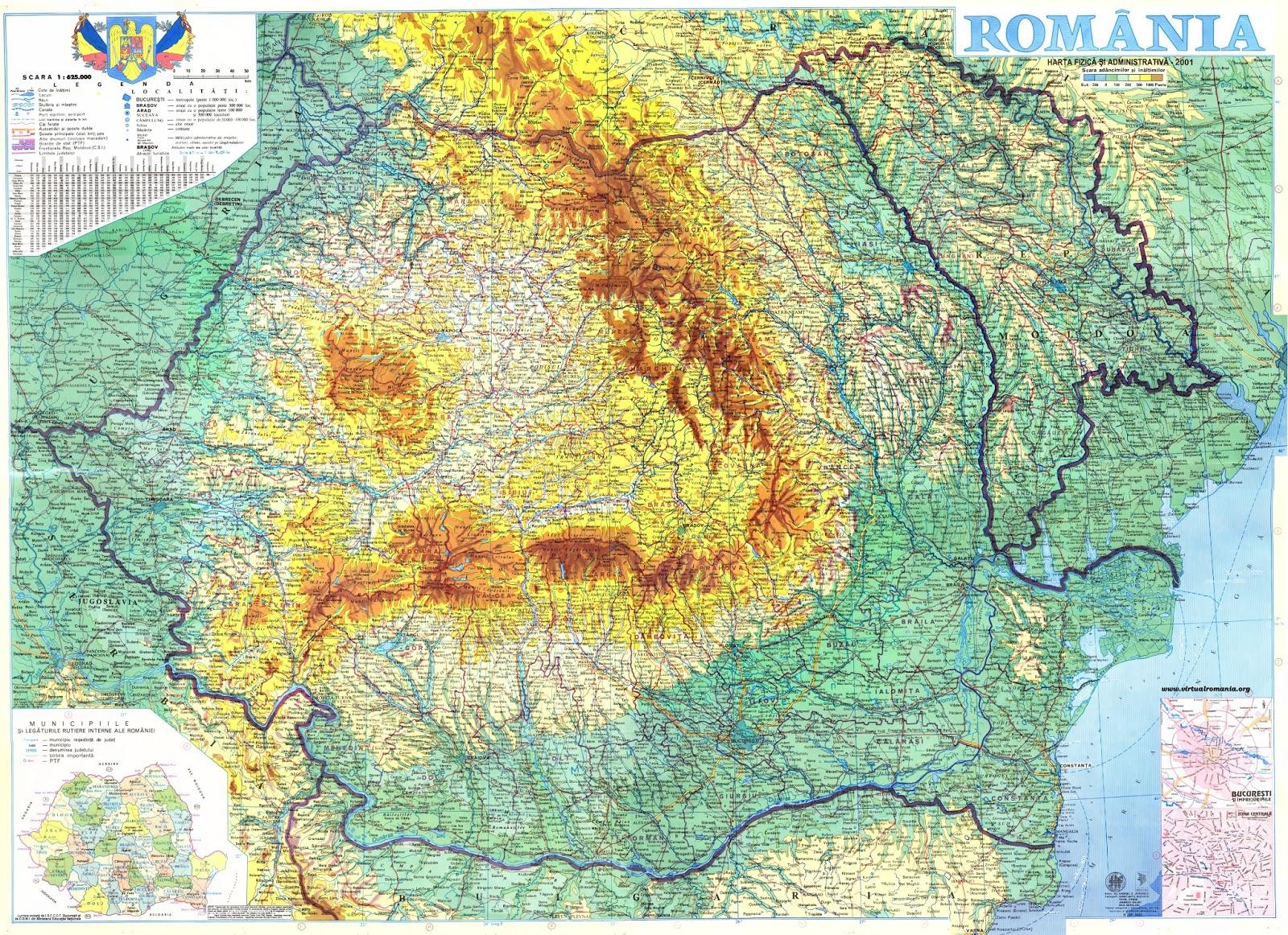 Geografilia Hărți Relief Romania