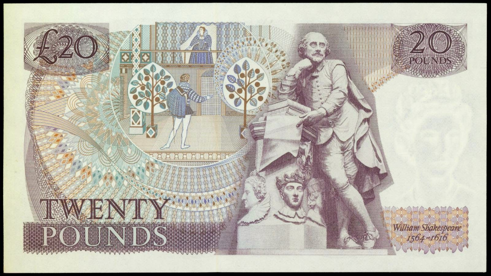 Great Britain banknotes 20 Pounds note William Shakespeare