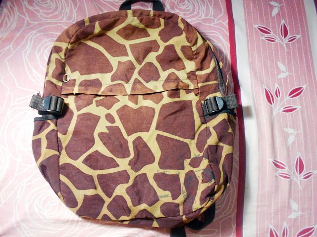 Giraffe patterned backpack - my highschool backpack