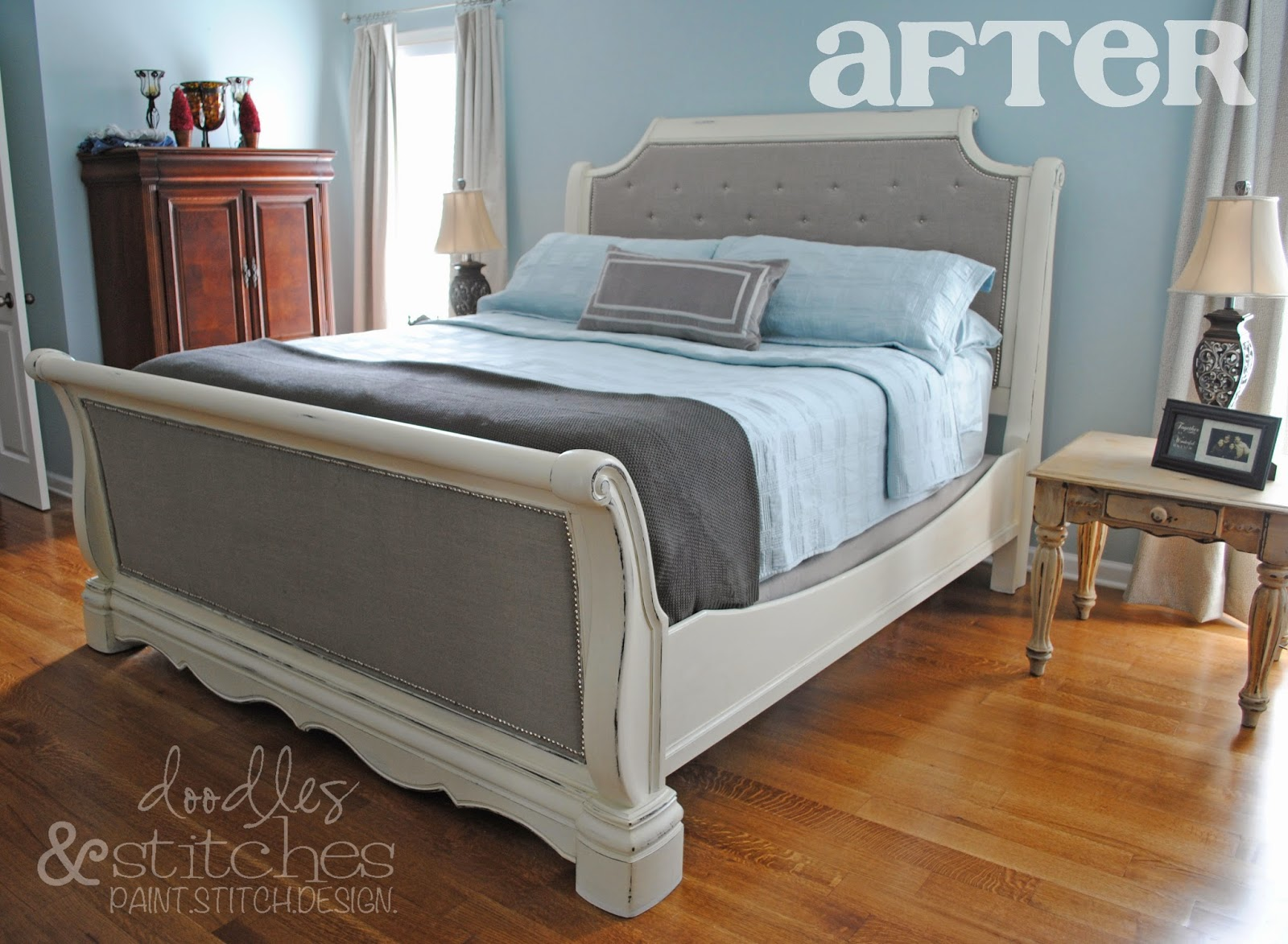 "Doodles & Stitches: ""Faux"" Tufted Bed Tutorial"