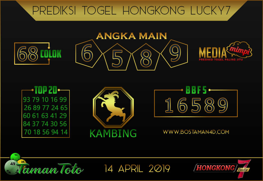 Prediksi Togel HONGKONG LUCKY 7 TAMAN TOTO 14 APRIL 2019