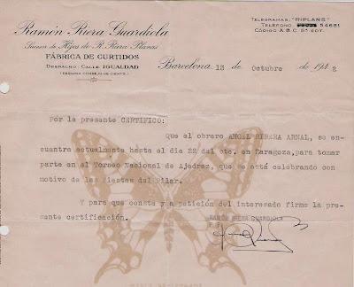 Autorización para disputar el Torneo de ajedrez de las Fiestas del Pilar 1942