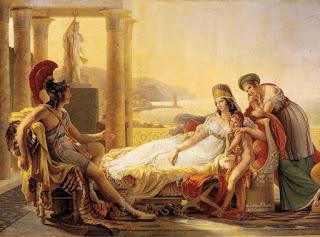 La reina Dido, conversando amigablemente con Eneas