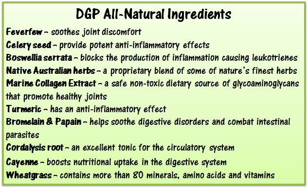 DGP All-Natural List of  Ingredients
