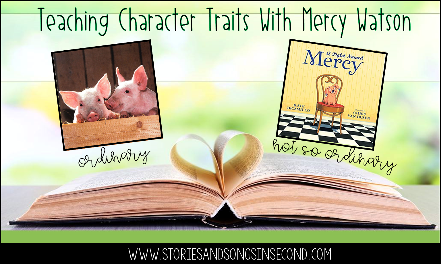 Teaching character traits with A Piglet Named Mercy by Kate DiCamillo is an absolute porcine wonder of a positive experience! Primary grade students will love using text vocabulary and events to compare and contrast ordinary barnyard animals with house pets.