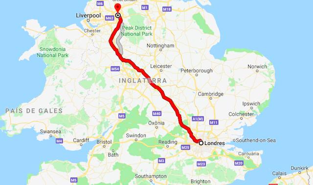 Mapa da viagem de trem de Londres a Manchester