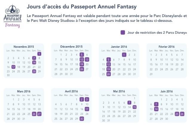 Días de restricción del Pasaporte Anual Fantasy para Eurodisney