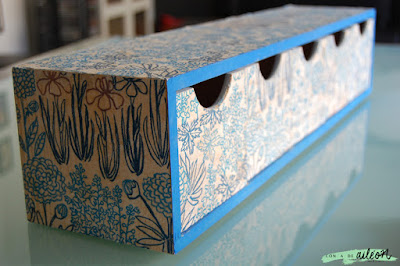DIY cajon azul decoupage