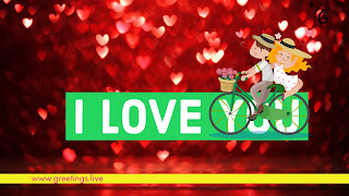 Red Sparkling Love hearts back ground, Cute love pair on bicycle I love you