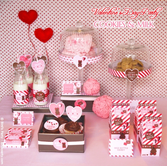Valentine S Day Party Ideas Pink And Red Cookieilk Printables Birdsparty