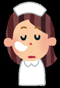 女性看護師の表情のイラスト(居眠り)