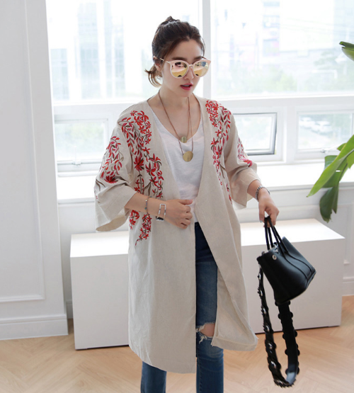 Floral Embroidered Open Front Cardigan