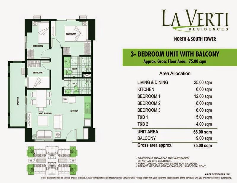 La Verti Residences 3-Bedroom Unit 75.00 sqm