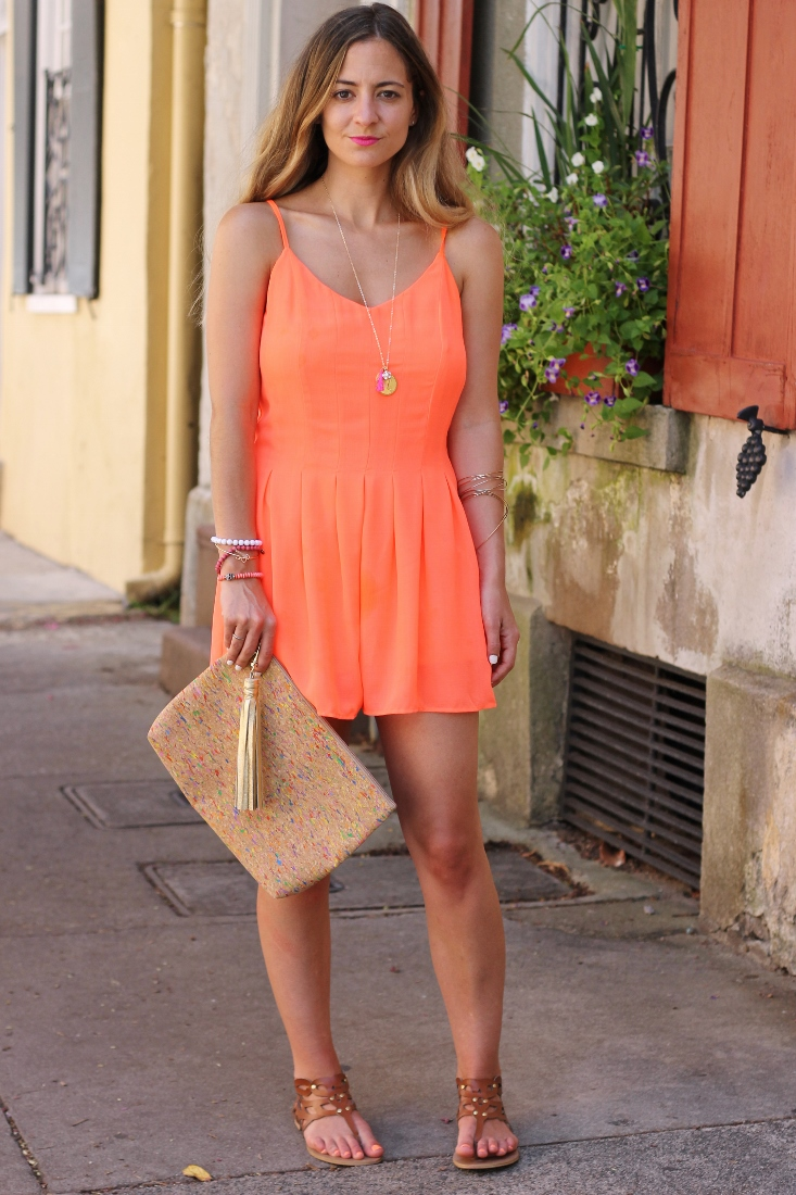 The Impeccable Pig neon romper with gladiator leather sandal