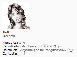 Imagen de perfil de Patt en los foros de Laura Gallego