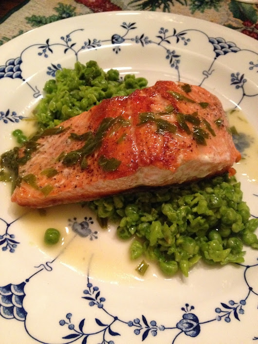Salmon with Mashed Peas and Tarragon Butter