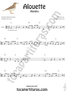 Viola Partitura de Alouette (Alondra) Canción infantil Sheet Music for Viola Music Score (opcional 8º alta)