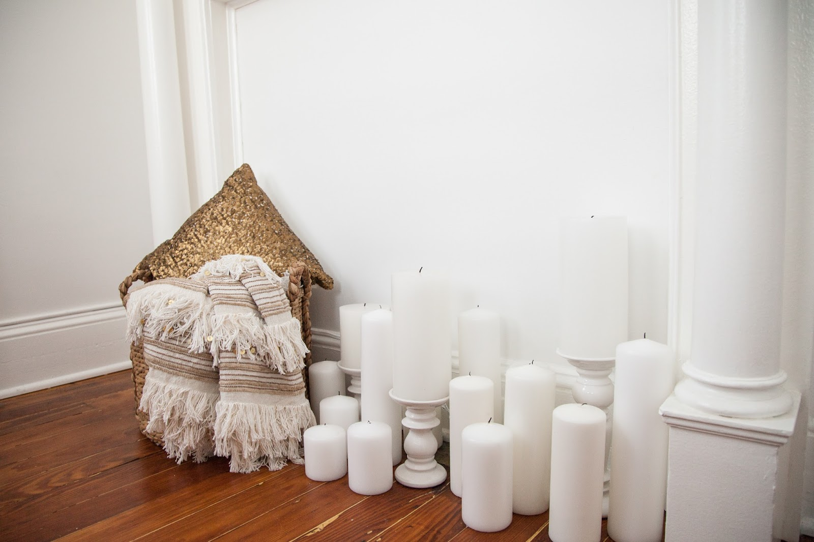 Mantle Decor with Pillar Candles and Throw Blanket Basket