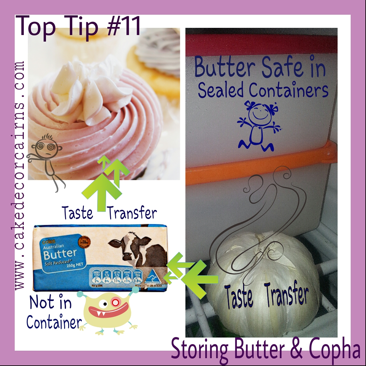 Store butter in containers to prevent odour and taste transfer.