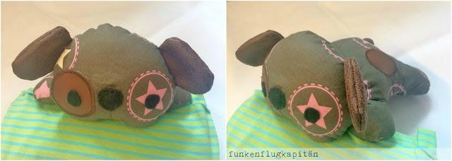 Stoffhund aus Baumwolle mit Lederrohren nähen