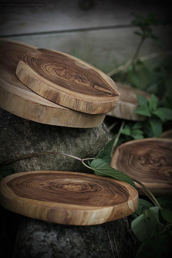 dekoartionsfat, annelies design, fat, dekoration, trä, trärent, trärena, inredning, träskivor, underlägg,