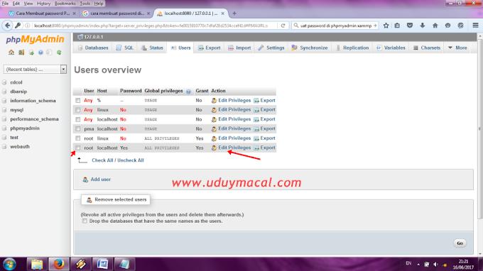 Cara Mudah Membuat User dan Password PHPmyadmin di Xampp