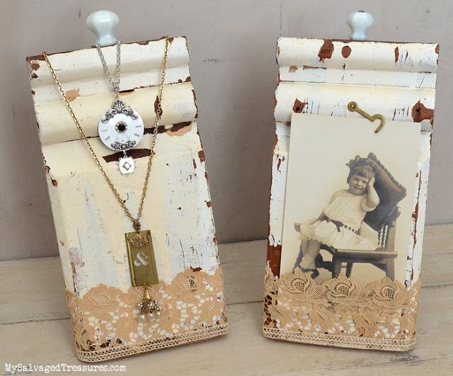 repurposed architectural salvage boards picture and jewelry holders