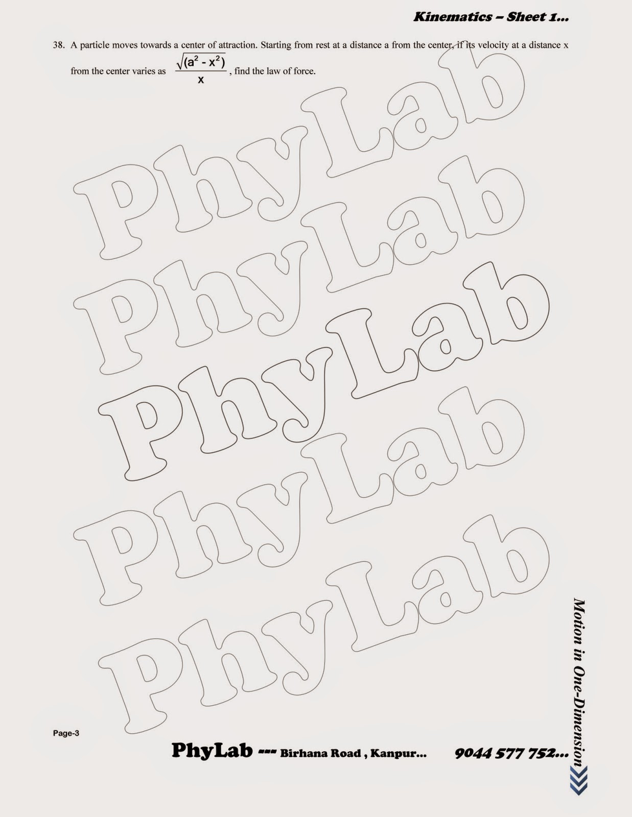 PhyLab-Educate: Q.Bank on Motion in 1-Dimension