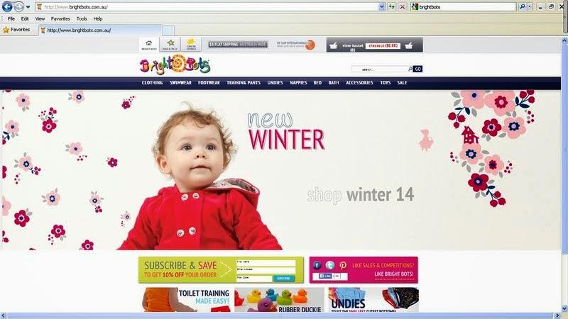 オーストラリアの布おむつ『Bright Bots』の公式通販サイトトップページの画像写真