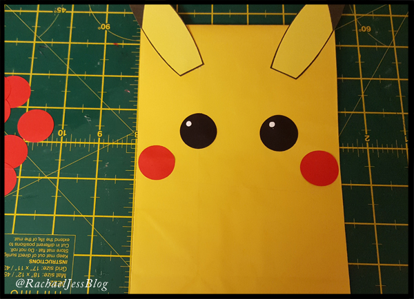 adding cheeks and eyes to my pikachu party bags