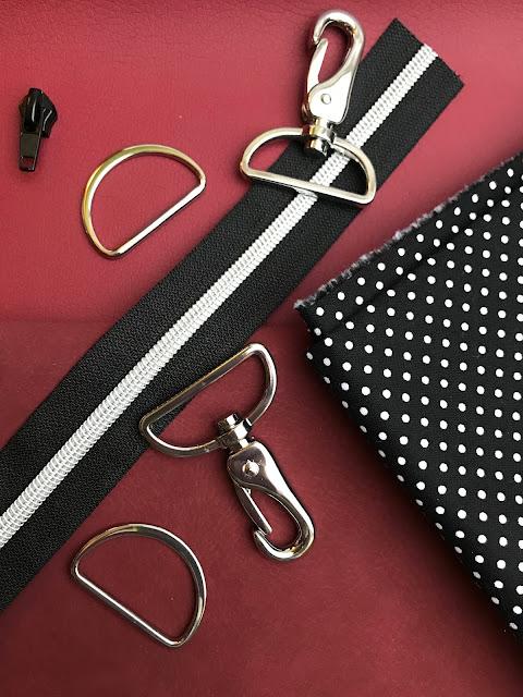 D-Ringe, Karabiner, Rießverschluss und Schieber für die Tasche