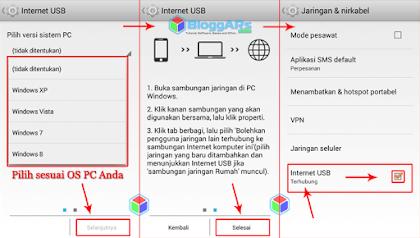 Koneksi Internet PC/Laptop ke Android Terhubung