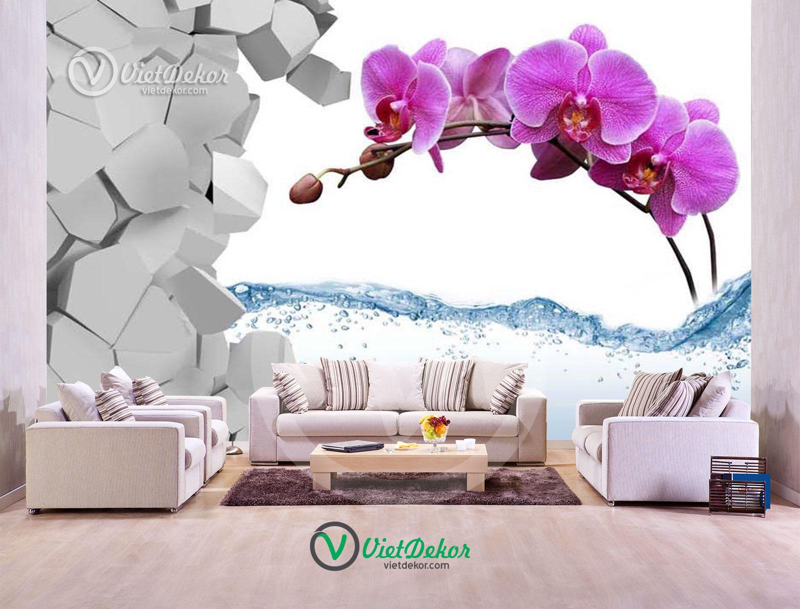 Tranh 3d dán tường hoa phong lan tím
