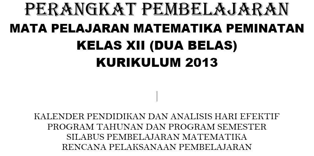 RPP Kurikulum 2013 Mata Pelajaran Matematika SMA