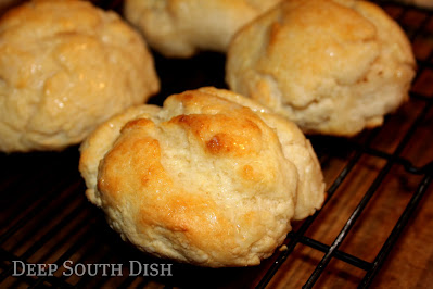 Hand-formed, extra large, lard-based cathead biscuits, baked in a hot cast iron skillet.
