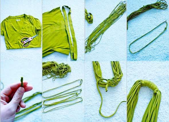 colgantes, collares, reciclar, camisetas, transformar,
